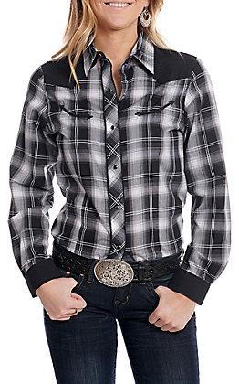 Roper Women's Black and White Plaid Long Sleeve Retro Western Shirt