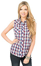 Roper Women's Red, White, and Blue Plaid Sleeveless Western Shirt