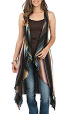 Lucky & Blessed Women's Black Serape Frayed Vest