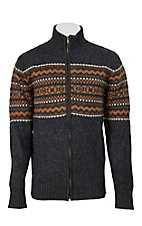 Stetson Men's Grey Aztec Zip Sweater