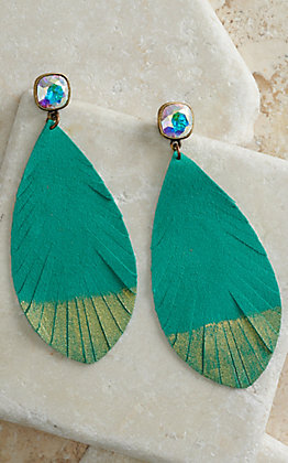 Pink Panache Turquoise with Metallic Gold and Crystal Posts Suede Feather Earrings