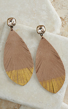 Pink Panache Tan with Metallic Gold and Crystal Posts Suede Feather Earrings