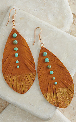 Pink Panache Mustard with Metallic Gold and Turquoise Suede Feather Earrings