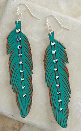 Pink Panache Turquoise with Crystals Leather Feather Earrings