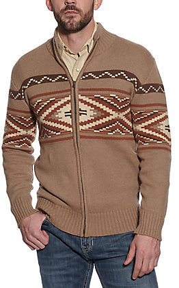 Stetson Men's Light Brown Aztec Print Zip Up Sweater