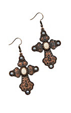 Southern Junkie Copper Cross with White Stone Accent Earrings