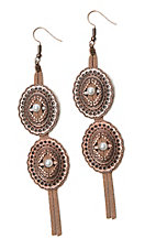 Southern Junkie Copper Western Dangle with Cream Tassel Earrings