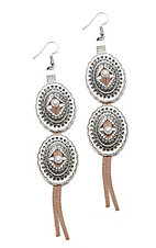 Southern Junkie Silver Western Dangle with Cream Tassel Earrings