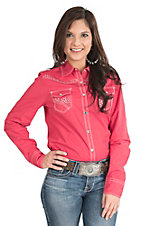 Wired Heart Women's Solid Coral with Rhinestone Accents Long Sleeve Western Snap Shirt