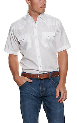 Ely Cattleman Tone on Tone Solid White Short Sleeve Shirt