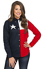 Roper Women's Texas Flag Long Sleeve Western Shirt