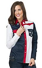 Roper Women's Pieced American Flag Long Sleeve Western Shirt