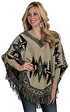 Renee C. Women's Black & Sand Aztec Poncho Sweater