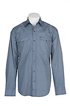 Stetson Men's Navy and White Mini Square Print L/S Western Snap Shirt