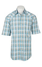 Stetson Men's Light Blue Plaid S/S Western Snap Shirt