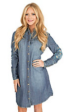 Stetson Women's Denim with Aztec Embroidery Long Sleeve Dress