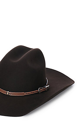 M&F Brown Embossed Wrapped Hatband