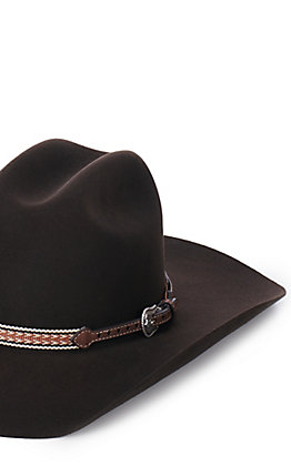 M & F Western Brown Patterned Ribbon Hatband
