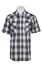 Ely Cattleman Men's Textured Black Plaid S/S Western Snap Shirt