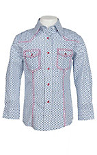 Wired Heart Girl's White and Blue with Pink Horse Print Contrast Stitching Long Sleeve Western Snap Shirt