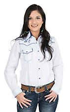 Cowgirl Legend Women's White with Navy Embroidery Long Sleeve Western Snap Shirt