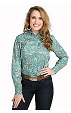 Roper Women's Amarillo Turquoise and Green Paisley Long Sleeve Western Shirt