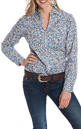 Roper Women's White With Blue & Peach Paisley Print Long Sleeve Western Shirt