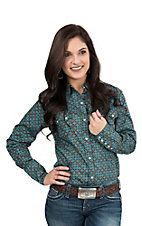 Roper Women's Teal, Black, and Brown Print Long Sleeve Western Snap Shirt