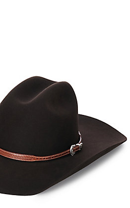 Twister Brown Basket Weave Leather Hatband
