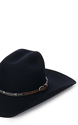 M&F Black and Brown with Cross Conchos and Studs Hatband
