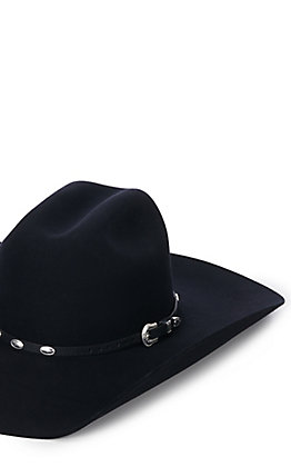 M & F Western Black With Silver Oval Conchos Leather Hatband