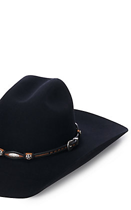 M&F Brown and Black with Silver Star Conchos Scalloped Hatband