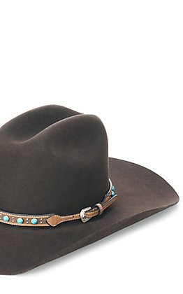 Twister Brown Leather With Turquoise and Nailhead Accents Hatband