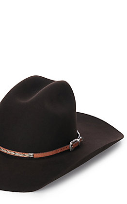 M & F Western Brown Leather Braided Horse Hair Hatband