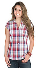 Roper Women's Pink, Purple, and White Plaid Cap Sleeve Retro Western Snap Shirt