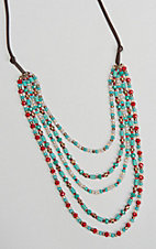 Southern Junkie Turquoise, Cream and Red Multi Layered Beaded Necklace