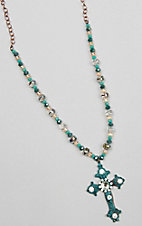 Turquoise, Brown and Crystal Beaded with Cross Pendant Necklace