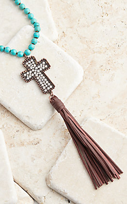 Southern Junkie Turquoise Beaded Copper Cross and Leather Tassel Necklace