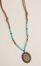 Southern Junkie Turquoise and Bronze Beaded Necklace with Oval Rhinestone Concho