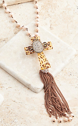 Southern Junkie Pearl Beaded Leopard Cross Tassel Necklace