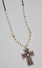 Southern Junkie Kortnis Studded Cross Pendent with Pearl and Copper Necklace