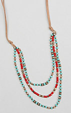 Southern Junkie Red and Turquoise with Brown and Copper Triple Strand Beaded Necklace
