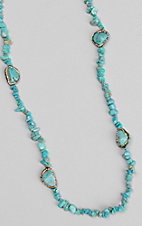 Southern Junkie Turquoise Rock and Gold Jewel Necklace