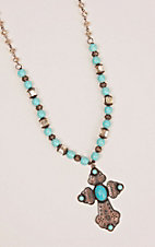 Southern Junkie Bronze with Turquoise and Clear Beads Cross Pendant Necklace