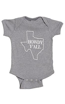 Infants Grey Texas Howdy Y'all Short Sleeve Onesie
