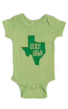 Infants Green Texas Locally Grown Short Sleeve Onesie