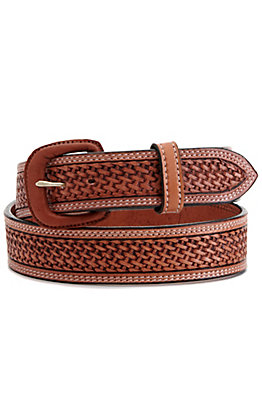 Vogt Men's Russet Brown Basket Weave Western Belt
