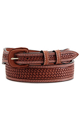 Vogt Men's Russet Brown Basket Weave Tapered Western Belt