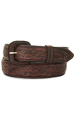 Vogt Men's Bison Dark Brown Running Oak Leaf Tooled Western Belt