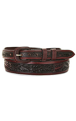 Vogt Men's Saddle Brown Over Under Leaf Tooled Tapered Western Belt